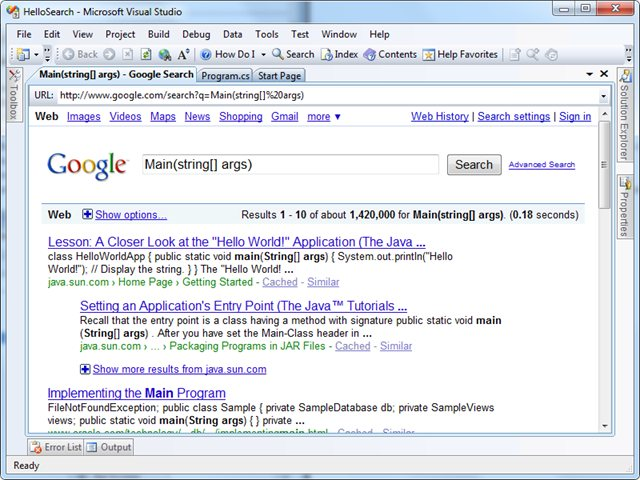 Screenshot of Search Result in VS