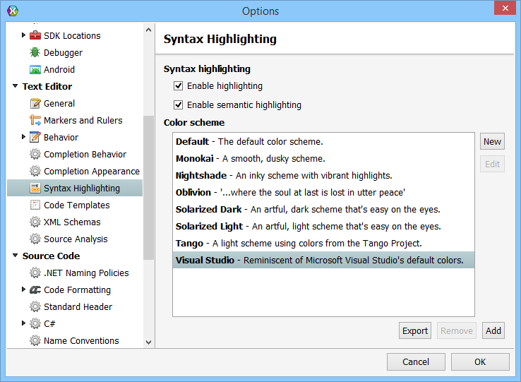 Visual Studio Colored Syntax Highlighting in Xamarin Studio